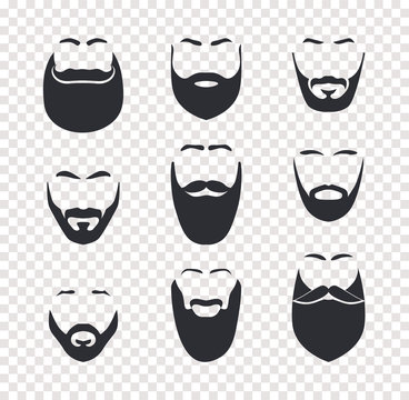 Various mustache and beard haircuts, male face hair, face masks set. Barbershop vector isolated objects on transparent background.