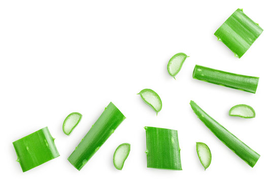 Aloe vera with slices isolated on white background with copy space for your text. Top view. Flat lay.