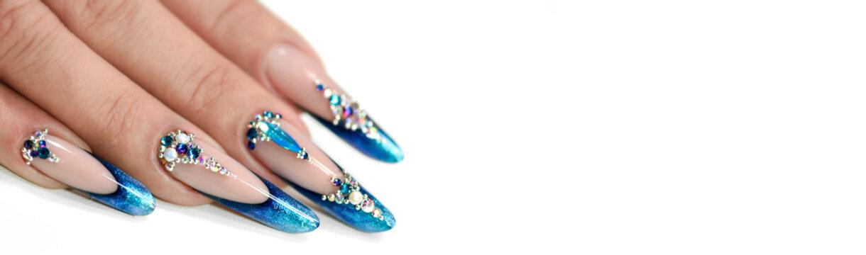 Winter nail art polish, Nails gel technique, Sparkling blue colour background, Russian almon nail shape