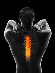 3d rendered medically accurate illustration of a man having a painful upper back