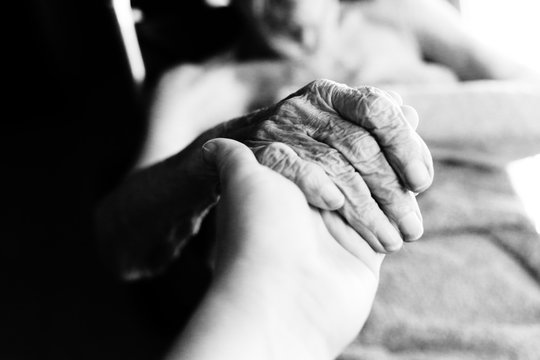Close up of hands of aged woman. wrinkle skin.