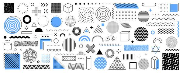Set of 100 geometric shapes. Memphis design, retro elements for web, vintage, advertisement, commercial banner, poster, leaflet, billboard, sale. Collection trendy halftone vector geometric shapes.