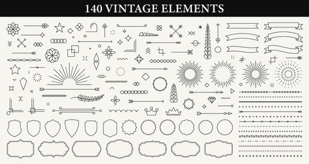 Foto auf AluDibond Retro Set of 140 Vintage line elements. Retro design elements. Ornaments and Frames. Drawing geometrics line. Decoration, banners, posters, emblems, labels. Vector illustration.