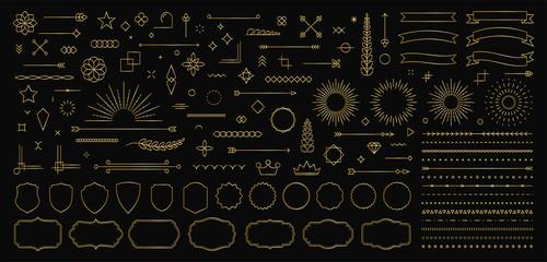 Set of 140 Gold Vintage line elements. Retro design elements. Ornaments and Frames. Drawing geometrics line. Decoration, banners, posters, emblems, labels. Vector illustration.