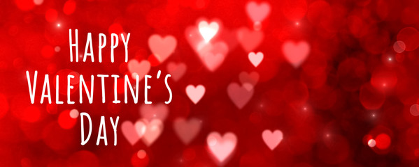 Fototapete - Valentines day background banner - abstract panorama background with red hearts - concept love