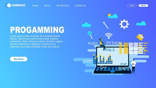 Programming web banner.with Tiny People Character Concept Vector Illustration, Suitable For web landing page,Wallpaper, Background,banner,Book Illustration