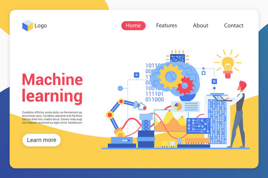 Machine learning landing page vector template. AI training website interface idea with flat illustrations. Computer science homepage layout. Engineering web banner, webpage cartoon concept