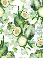 Seamless pattern with avocado, watercolor composition for decorating towels, kitchen backgrounds