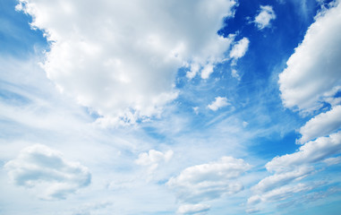Wall Mural - white fluffy clouds on blue sky in summer