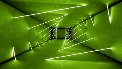 Night club interior green lights 3d render for laser show. Glowing green lines. Abstract fluorescent green background. Green neon room corridor background. Light abstract futuristic design. Modern