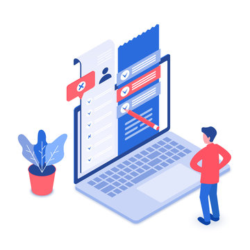 Online survey isometric vector illustration. Filling questionnaire. Choosing option on website. Gathering information and feedback. Customer service evaluation cartoon conceptual design element