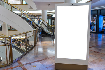 White billboard in a modern shopping center, mockup