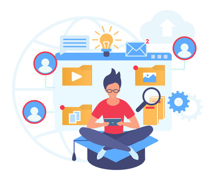 Distance learning flat vector illustration. Online studying service. Mobile settings. Media library management. Correspondenceeducation. Modern university website. Male student cartoon character