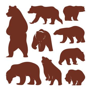 Collection of silhouette Bears. Vector logo. Wildlife. Wild Bear. Vector illustration.