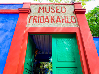 Entrance of Frida Kahlo Museum (also known as the Blue House - La Casa Azul), Coyoacán borough, Mexico City