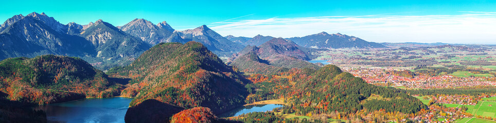 Foto op Canvas Alpen Top view panorama of Alpsee and Schwangau village in autumn