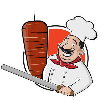 funny cartoon doner logo illustration