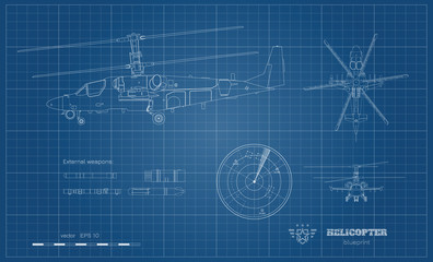 Outline blueprint of military helicopter. Side, top and front views of armed air vehicle. Industrial image with external weapon. War copter