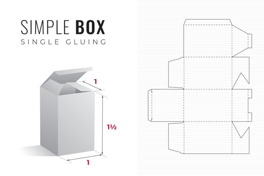 Simple Packaging Box Die Cut One and a Half Height Template with 3D Preview -  Black Editable Blueprint Layout with Cutting and Scoring Lines on Striped Background - Draw Graphic Design