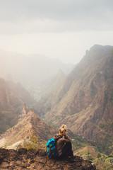Santo Antao Island Cape Verde. Female tourist enjoying breathtaking view of impressive Ribeira da...