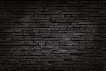 Tuinposter Stenen Black brick walls that are not plastered background and texture. The texture of the brick is black. Background of empty brick basement wall.
