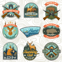 Set of Hunting club badge. Vector Concept for shirt, print, stamp. Vintage typography design with hunting gun, boar, hunter, bear, deer, duck and forest. Outdoor adventure hunt club emblem