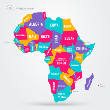 Vector Illustration Africa Regions Map With Single African Countries.