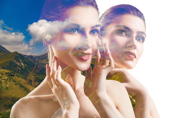 Double exposure of young woman and beautiful nature.