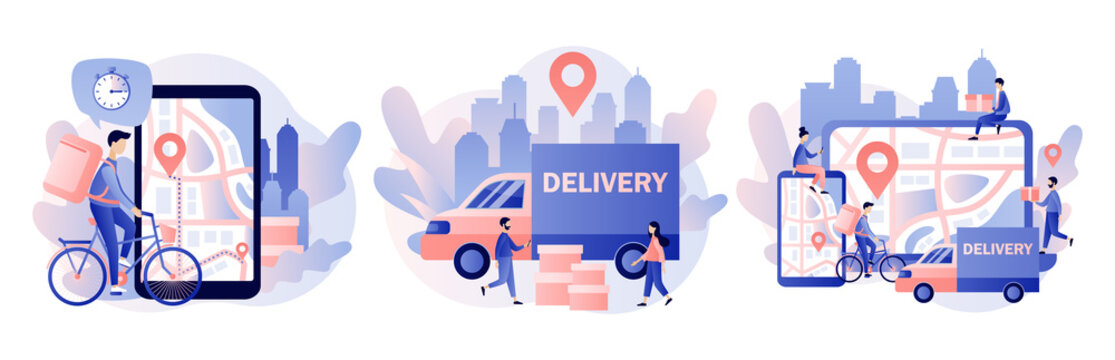 Online delivery service concept. Order tracking. Tiny people are couriers and customers. Modern flat cartoon style. Vector illustration on white background
