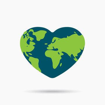 Shaped heart icon flat design of globe symbol or global creative logo for love. Save the earth & world. Concept international love. Vector cartoon illustration