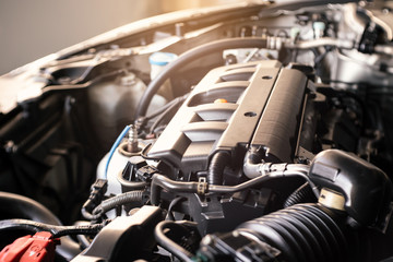 details of modern car engine with sunlight effect, shallow depth of field Wall mural