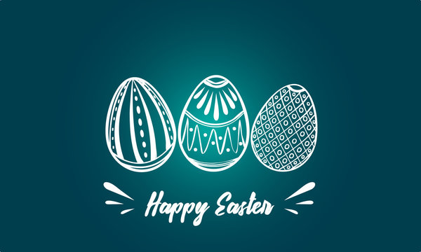 Happy Easter card with copy space. Easter eggs vector illustration on the blue background. Three painted easter eggs.