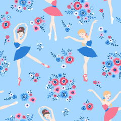 Ballet dance cartoon seamless pattern with ballerinas in tutu dresses and flowers on blue background