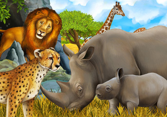 cartoon scene with giraffes rhinoceros rhino and cheetah on the meadow near some mountain safari illustration for children