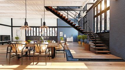 modern domestic dining room interior.