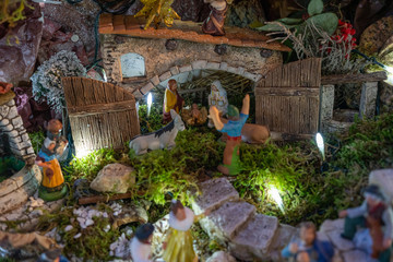 Beautiful Christmas crib with little Santons of Provence in clay