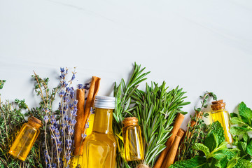 Essential oil in glass bottles. Thyme, mint, rosemary and lavender essential oils, top view, copy space.