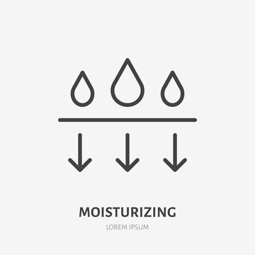 Moisture line icon, vector pictogram of moisturizing cream. Skincare illustration, sign for cosmetics packaging