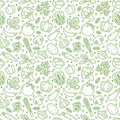 Food background, vegetables seamless pattern. Healthy eating - tomato, garlic, carrot, pepper, broccoli, cucumber line icons. Vegetarian, farm grocery store vector illustration, green white color