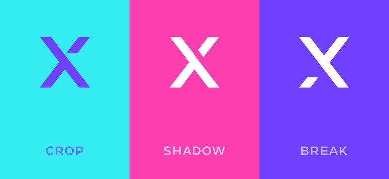 Set of letter X minimal logo icon design template elements