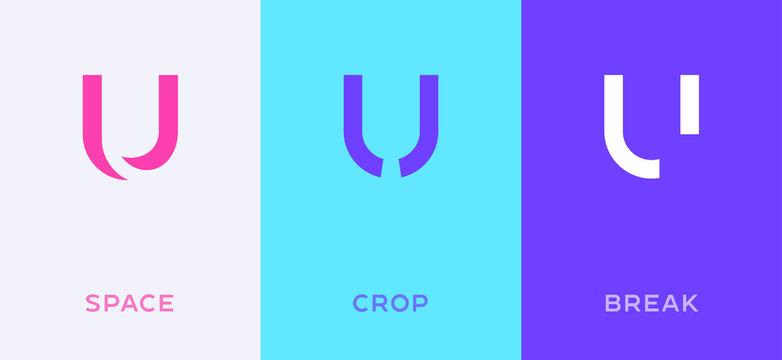 Set of letter U minimal logo icon design template elements