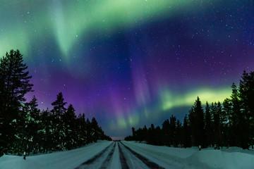 Tuinposter Noorderlicht Northern lights Aurora Borealis activity over the road in Finland, Lapland