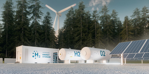 Concept of hydrogen energy storage from renewable sources - wind turbines and photovoltaics. 3d rendering