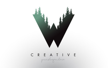 Creative W Letter Logo Idea With Pine Forest Trees. Letter W Design With Pine Tree on Top