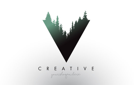 Creative V Letter Logo Idea With Pine Forest Trees. Letter V Design With Pine Tree on Top