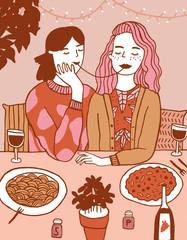 Illustration of women eating spaghetti in cafe