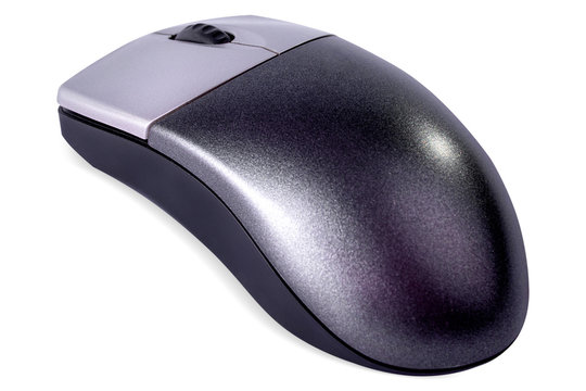 Grey wireless computer mouse on white background. Isolated.
