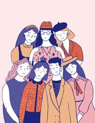 Illustration of women standing together