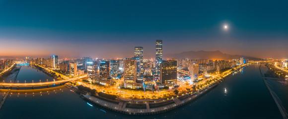 Urban night view of CBD of strait financial street and CBD of jiangnan district, fuzhou city, fujian province, China Fotomurales