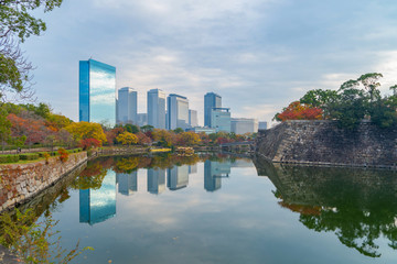 Osaka downtown skyline with lake or river and skyscraper buildings in Kansai in colorful Autumn season with red maple leaves, trees in park, urban city, Japan. Architecture landscape background.
